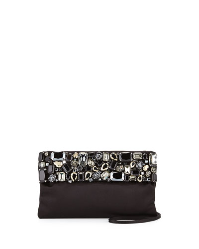 Satin Clutch w/Crystals, Black (Nero)