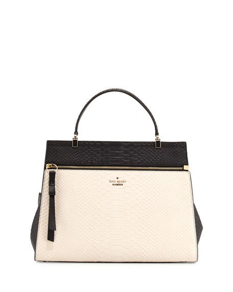 Shaw Street Keegan Python Embossed Tote Bag Soft White Black