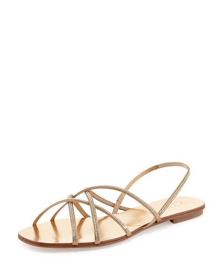 39efdbb04896b1 Pedro Garcia Elora Crystal Slingback Flat Sandal