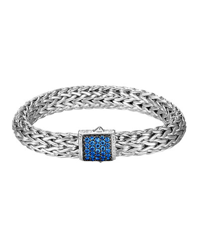 Classic Chain 11mm Large Braided Silver Bracelet, Blue Sapphire