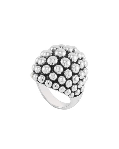 Large Sterling Silver Bold Caviar Dome Ring