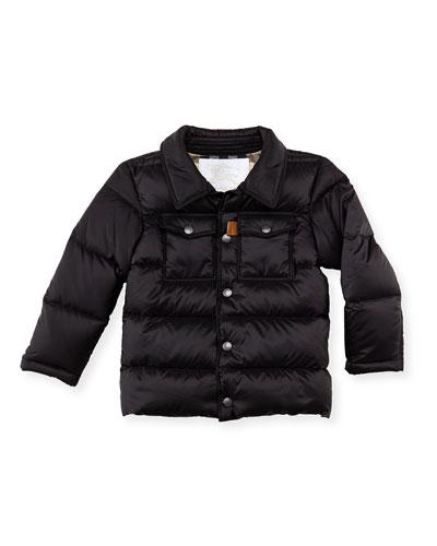 Boys' Puffer Coat, Black, 4Y-10Y