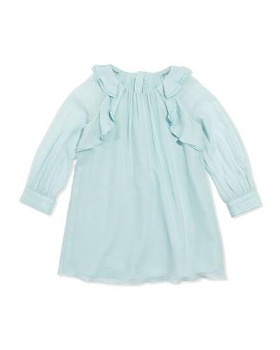 Ruffled Crepe Shift Dress, Aqua, Sizes 6A-10A
