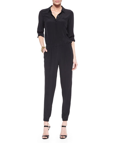 Silk Crepe de Chine Shirtwaist Jumpsuit