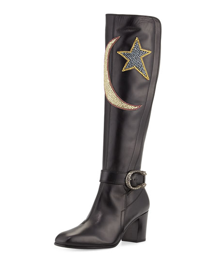 e83e0ef01 Gucci Dionysus Embroidered Knee Boot, Nero