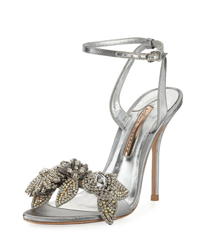 Lilico Crystal Beaded Lamé Ankle-Wrap Sandal, Silver