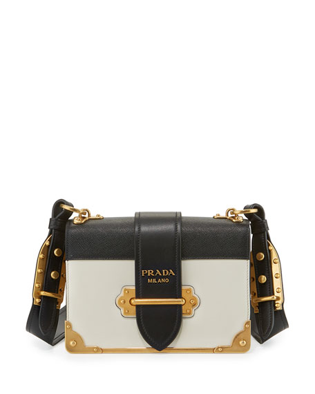 3f43571736bd Prada Cahier Notebook Shoulder Bag, White/Black (Bianco/Nero)