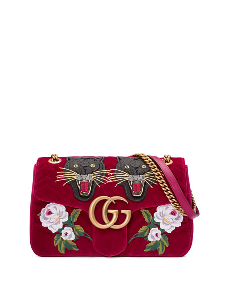 f558312c8396 110th Anniversary Gg Marmont Small Panther Velvet Shoulder Bag ...