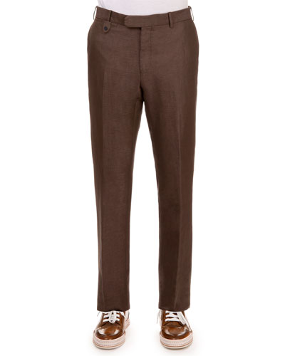 Linen-Blend Flat-Front Trousers, Brown