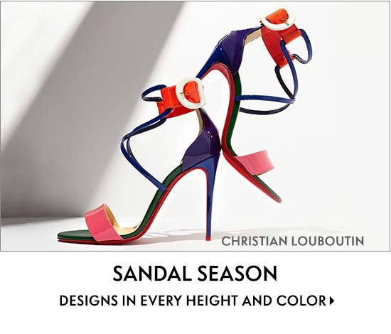 Sandal season designs in every height and color featuring Christian Louboutin