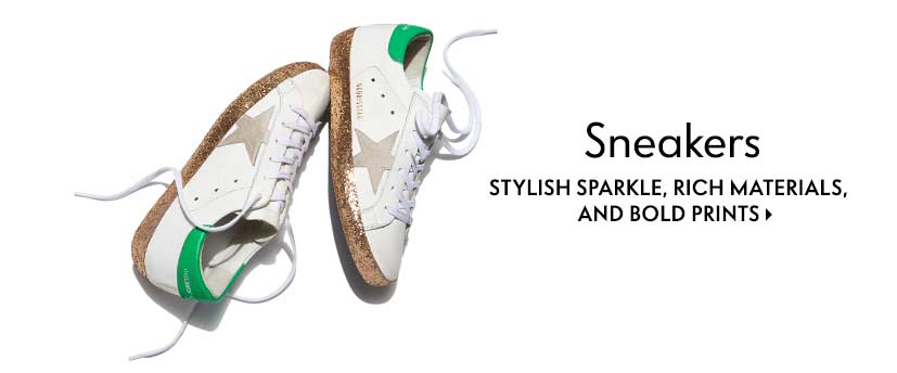 Sneakers Stylish sparkle, rich materials, and bold prints