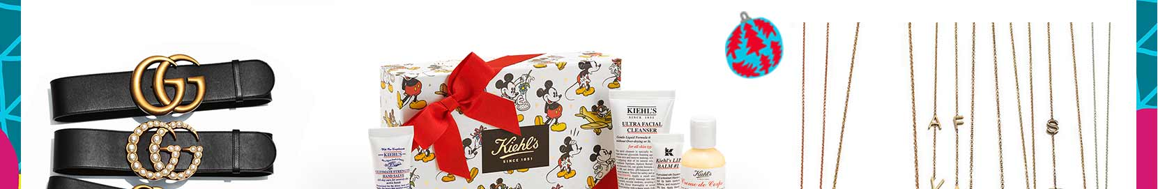 Gifting ideas with Gucci belts, personalized jewelry, and exclusive collections featuring Disney and Kiehl's