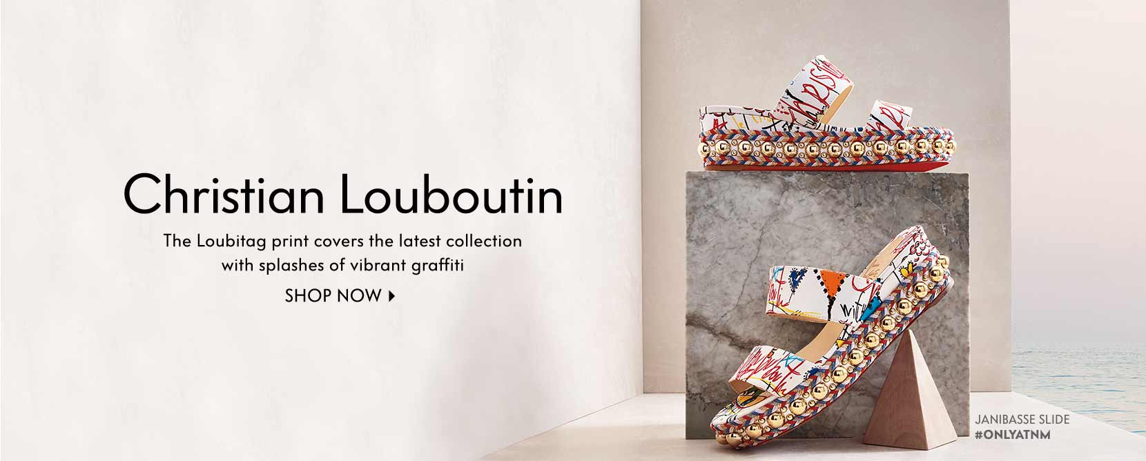 Christian Louboutin The Loubitag print covers the latest collection with splashes of vibrant graffiti Shop now