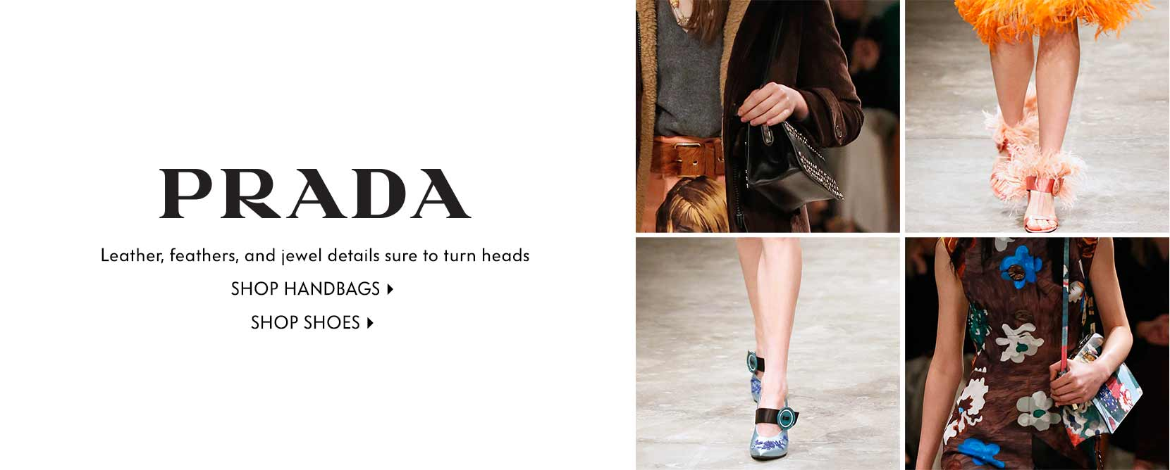 PRADA Leather, feathers, and jewel details sure to turn heads Shop handbags Shop shoes