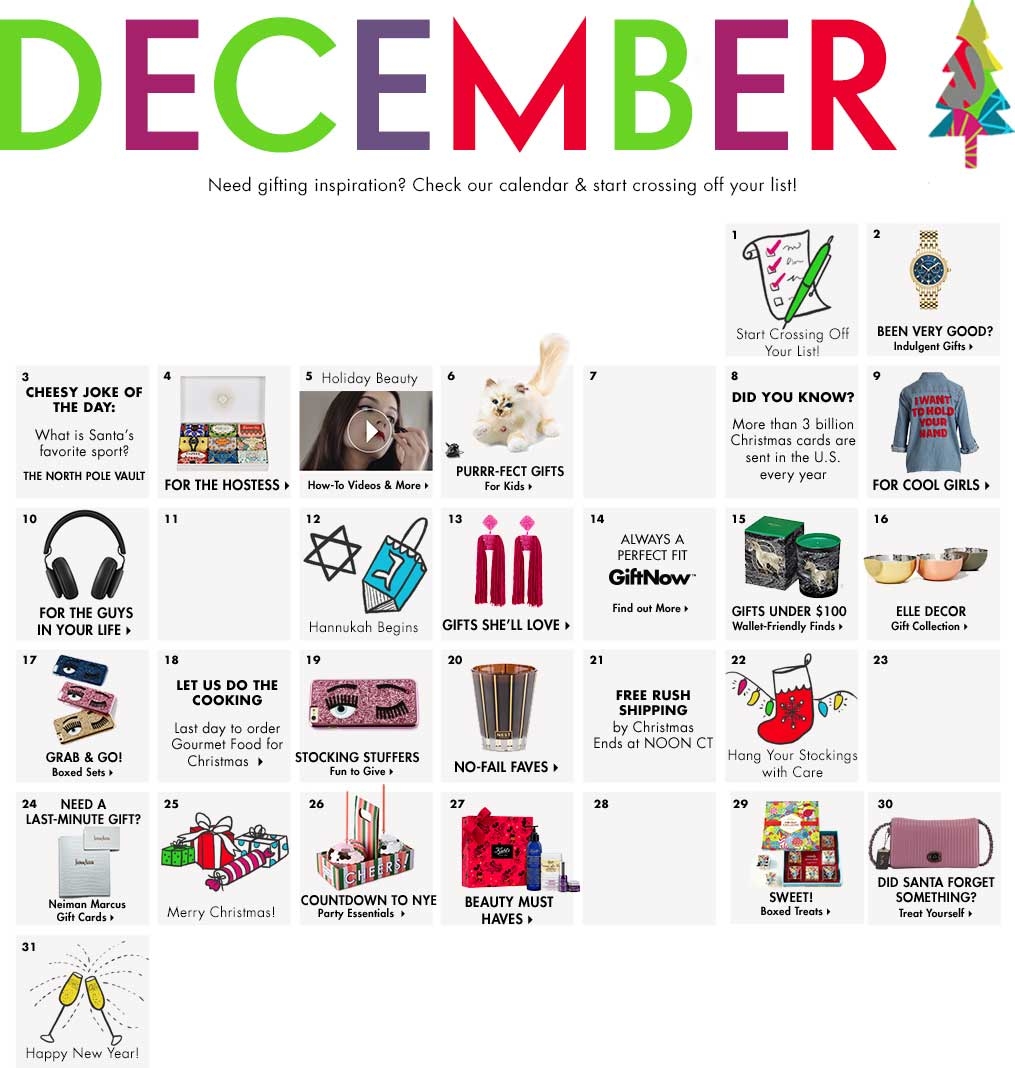 December - Need gifting inspiration? Check our calendar & start crossing off your list!