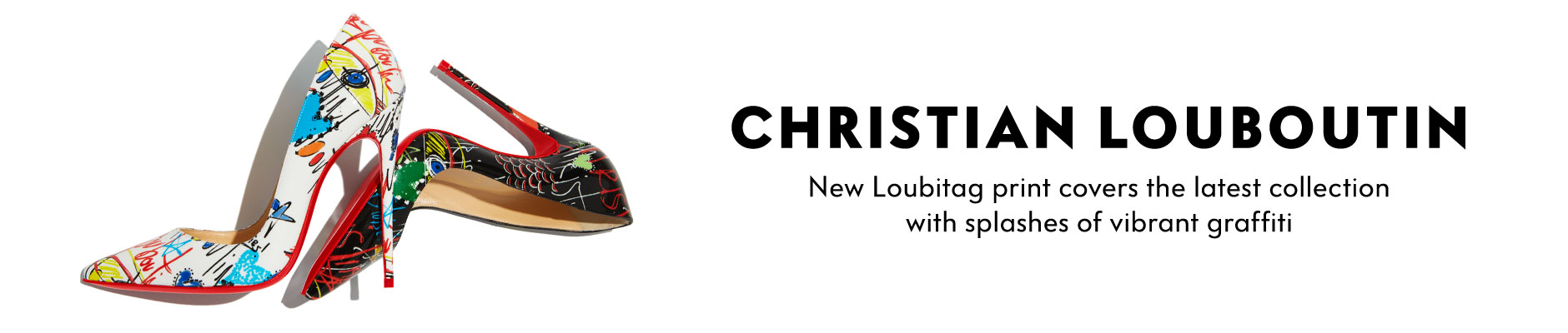 Christian Louboutin - New Loubitag print covers the latest collection with splashes of vibrant graffiti