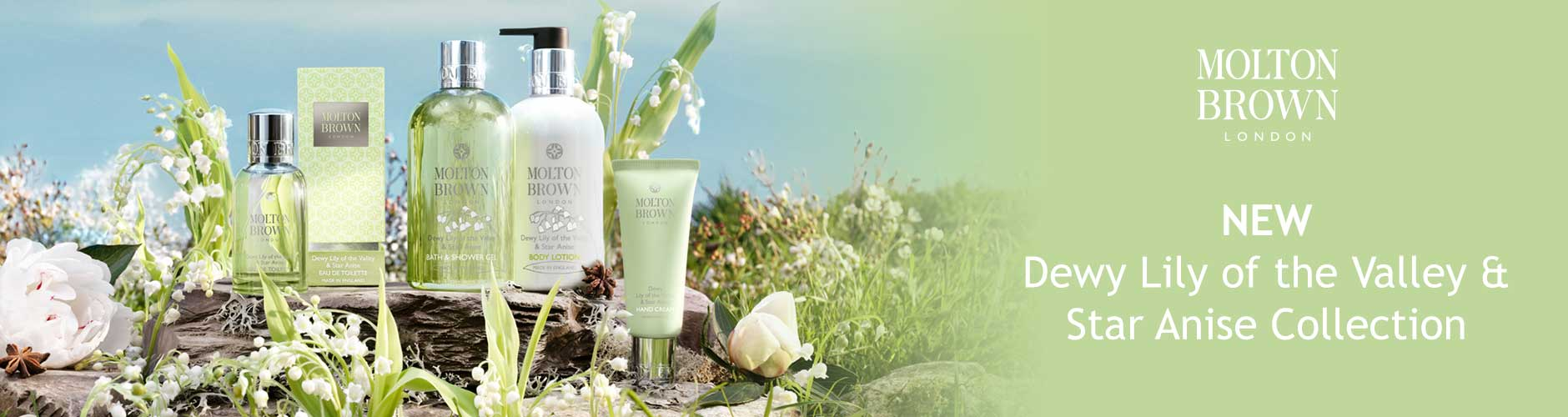 Molton Brown London. New Dewy Lily of the Valley & Star Anise Collection