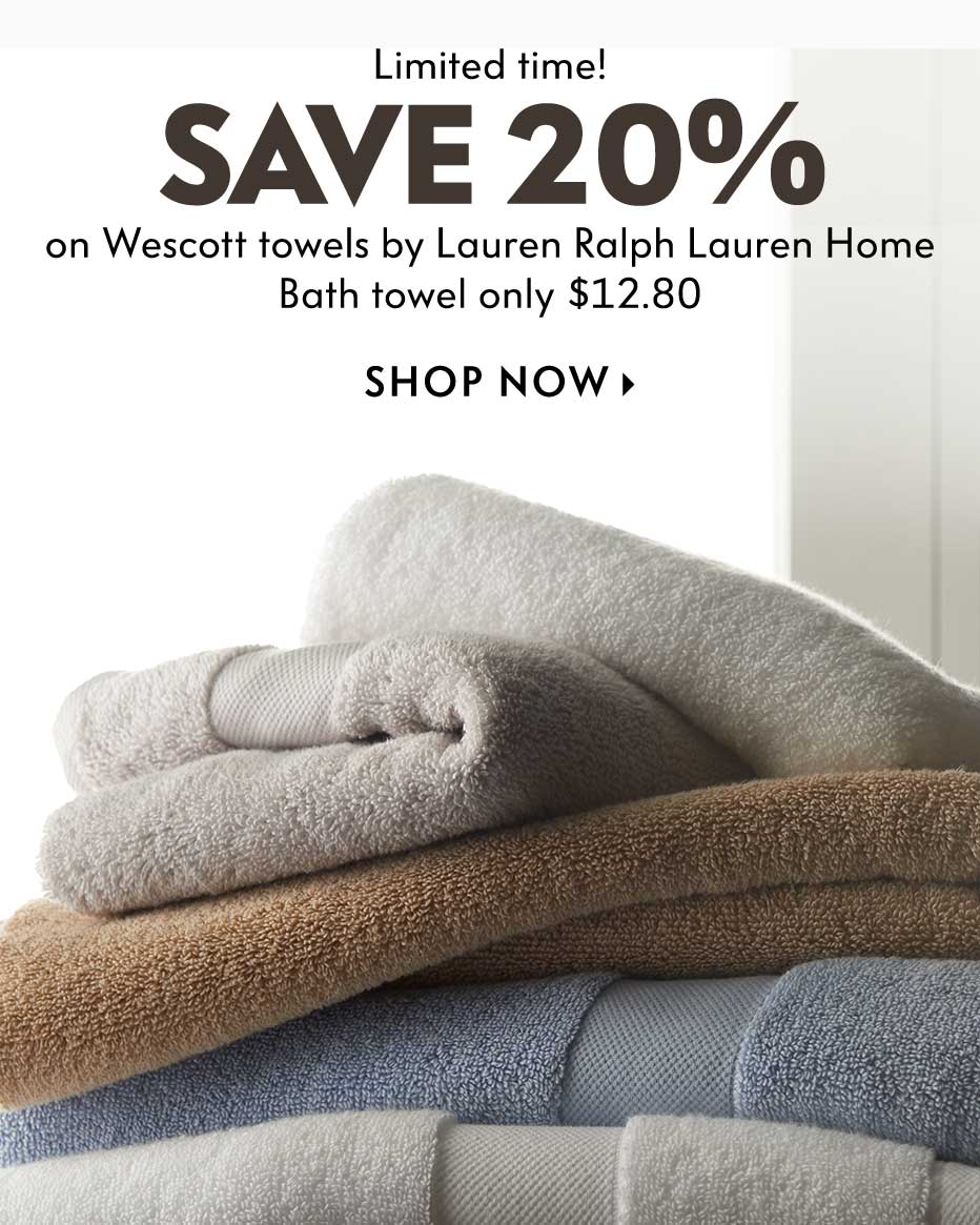 Limited time! Save 20% on Wescott towels by Lauren Ralph Lauren Home - Bath towel only $12.80