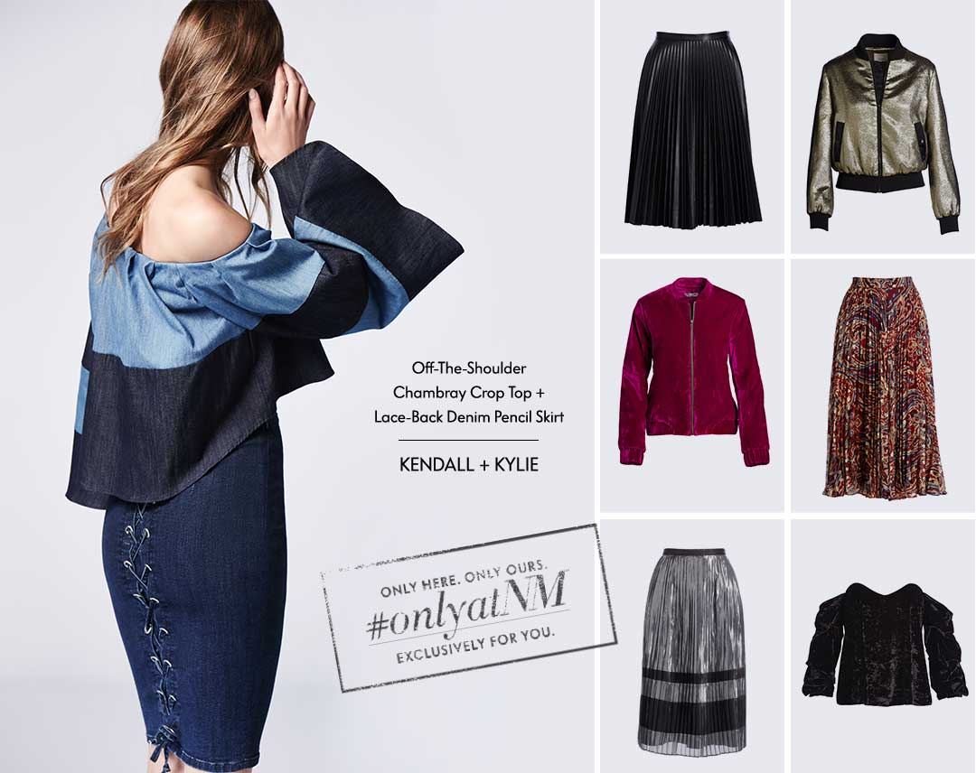 Off-The-Shoulder Chambray Crop Top + Lace-Back Denim Pencil Skirt: Kendall + Kylie - #ONLYATNM