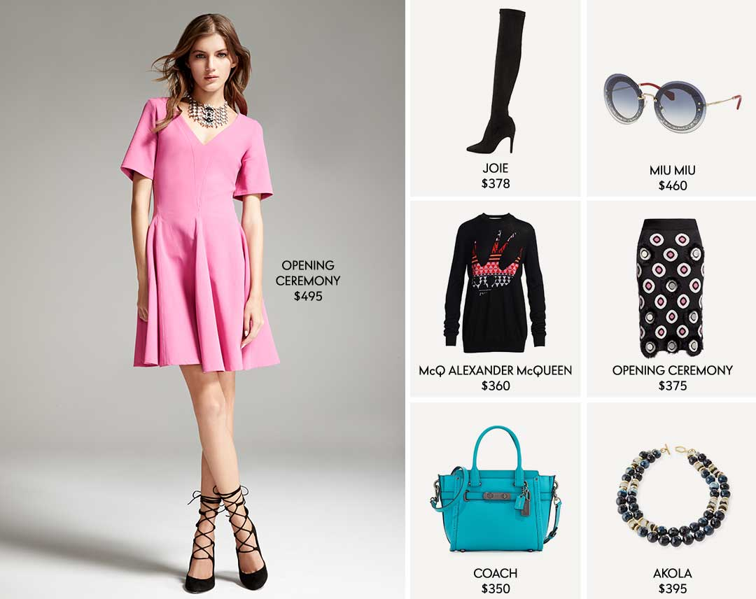 Opening Ceremony $495, Joie $378, Miu Miu $460, McQ Alexander McQueen $360, Opening Ceremony $375, Coach $350, Akola $395