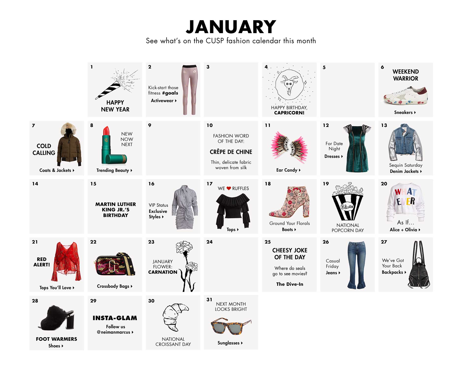 January - See what's on the CUSP fashion calendar this month
