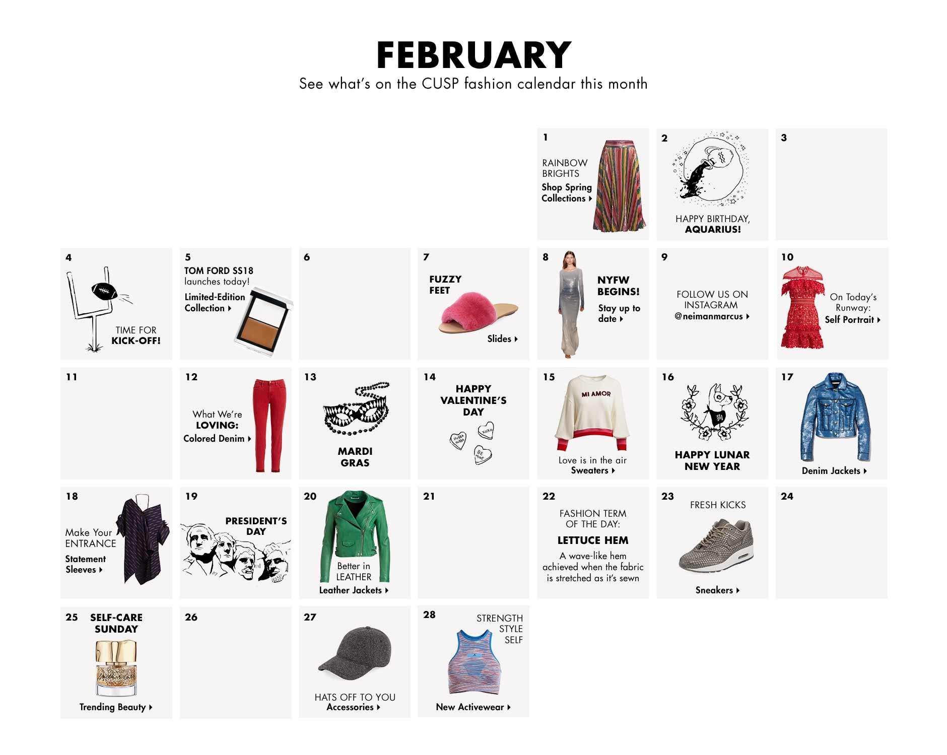 February - See what's on the CUSP fashion calendar this month