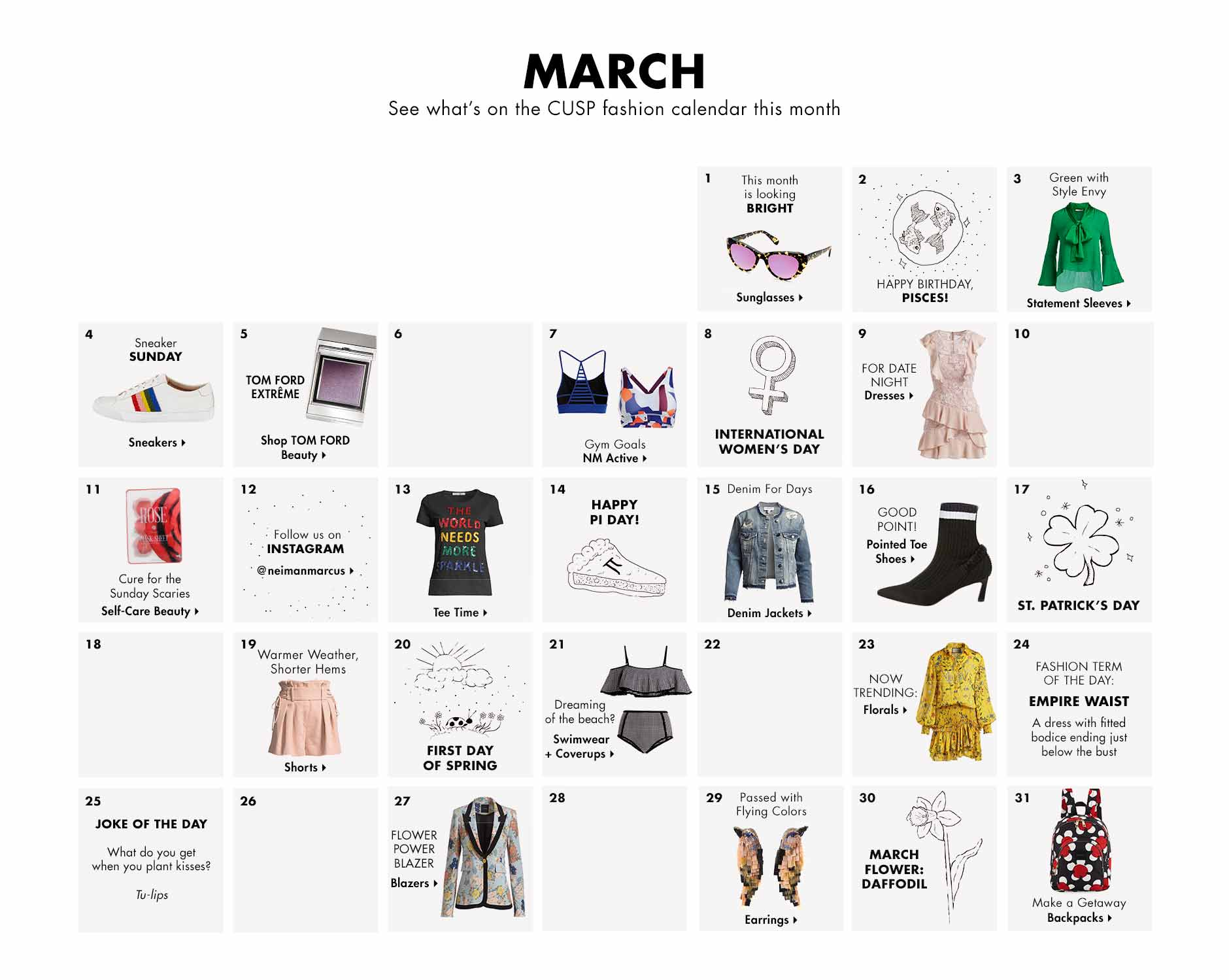 March - See what's on the CUSP fashion calendar this month