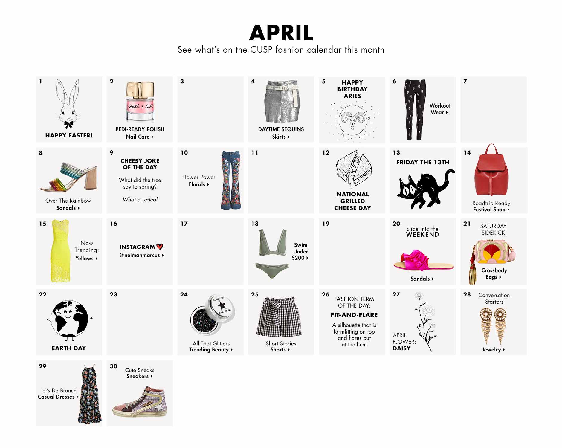 April - See what's on the CUSP fashion calendar this month