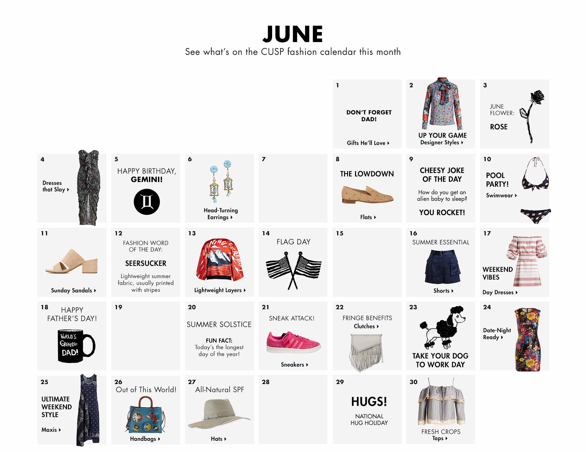 June - See what's on the CUSP fashion calendar this month