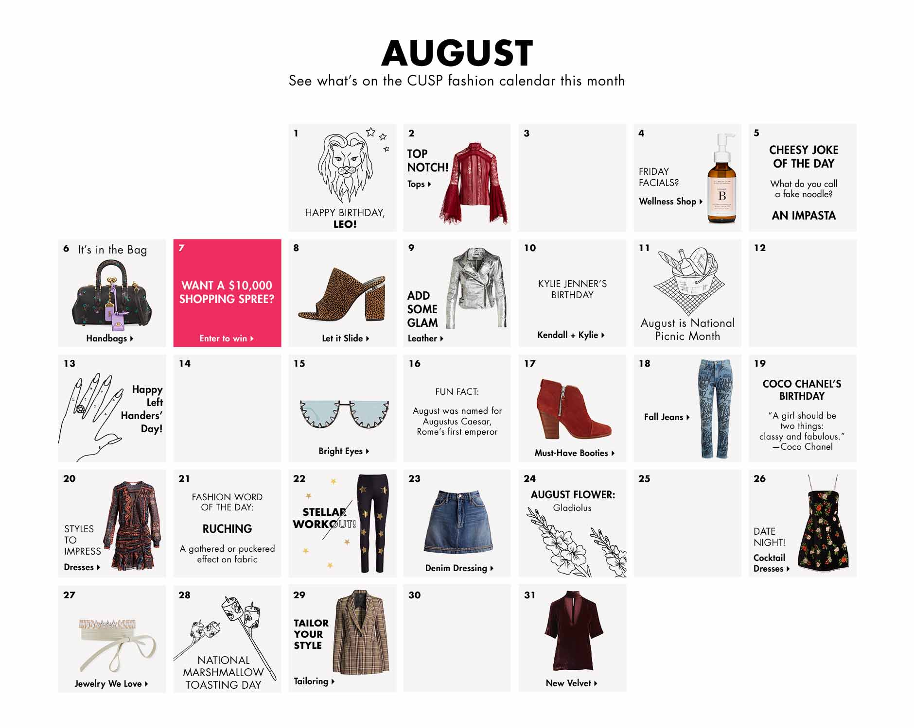 August - See what's on the CUSP fashion calendar this month