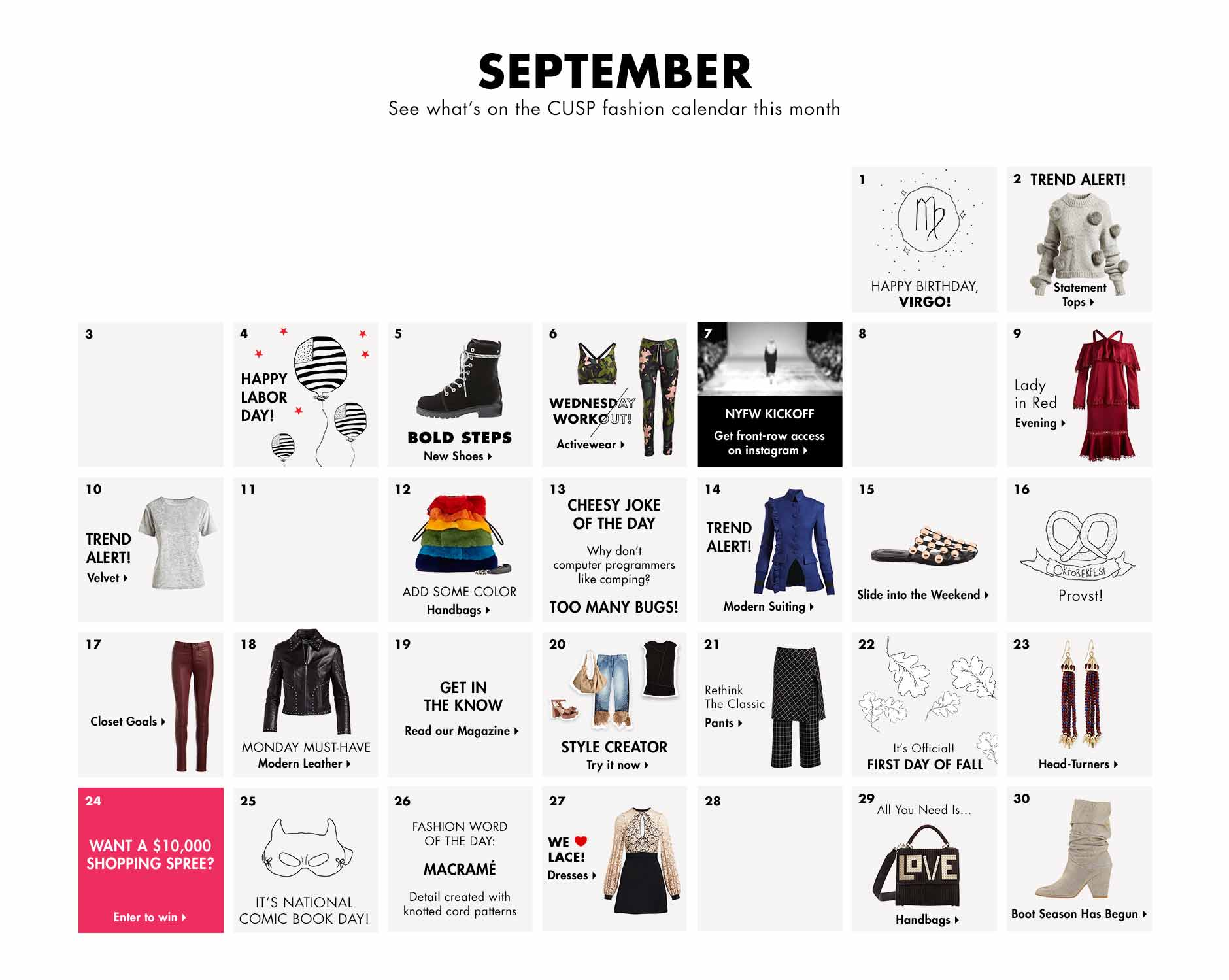 September - See what's on the CUSP fashion calendar this month