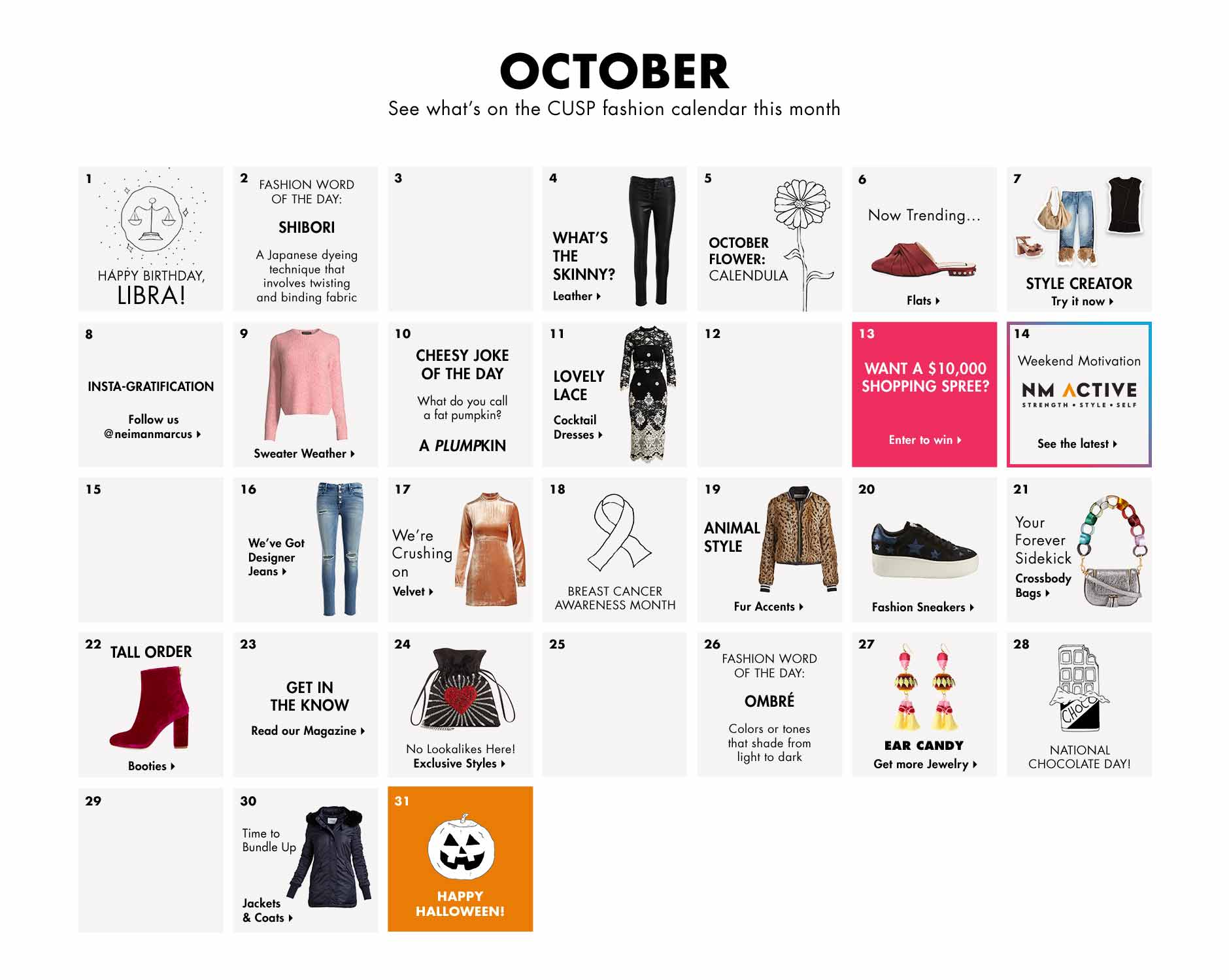 October - See what's on the CUSP fashion calendar this month
