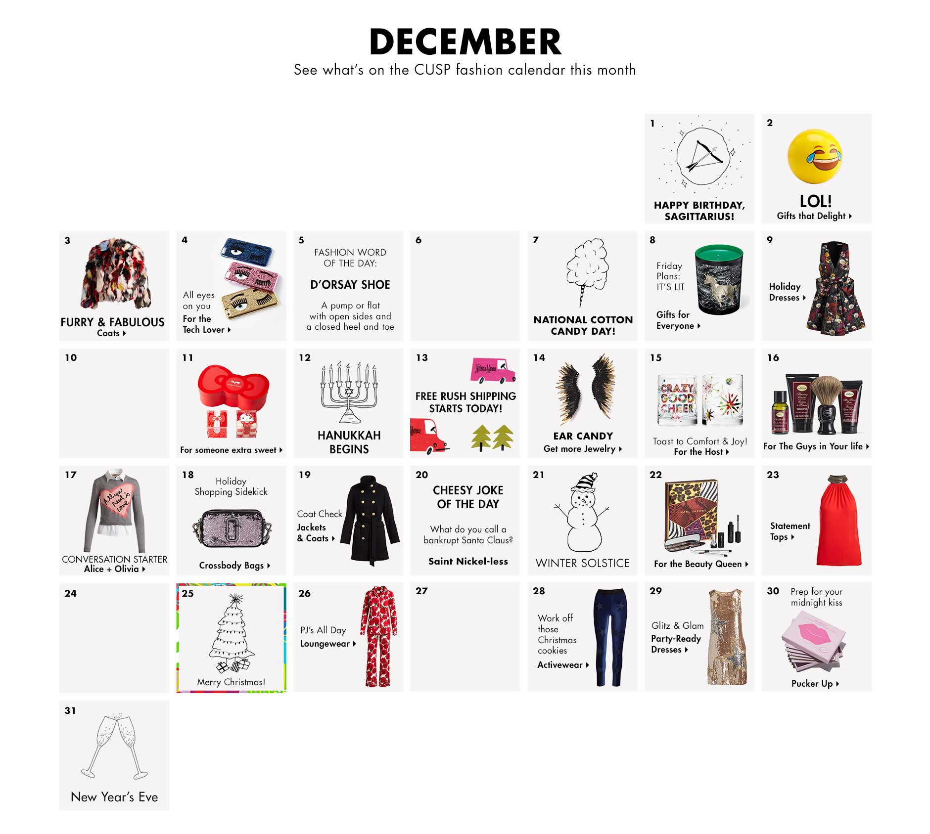 December - See what's on the CUSP fashion calendar this month