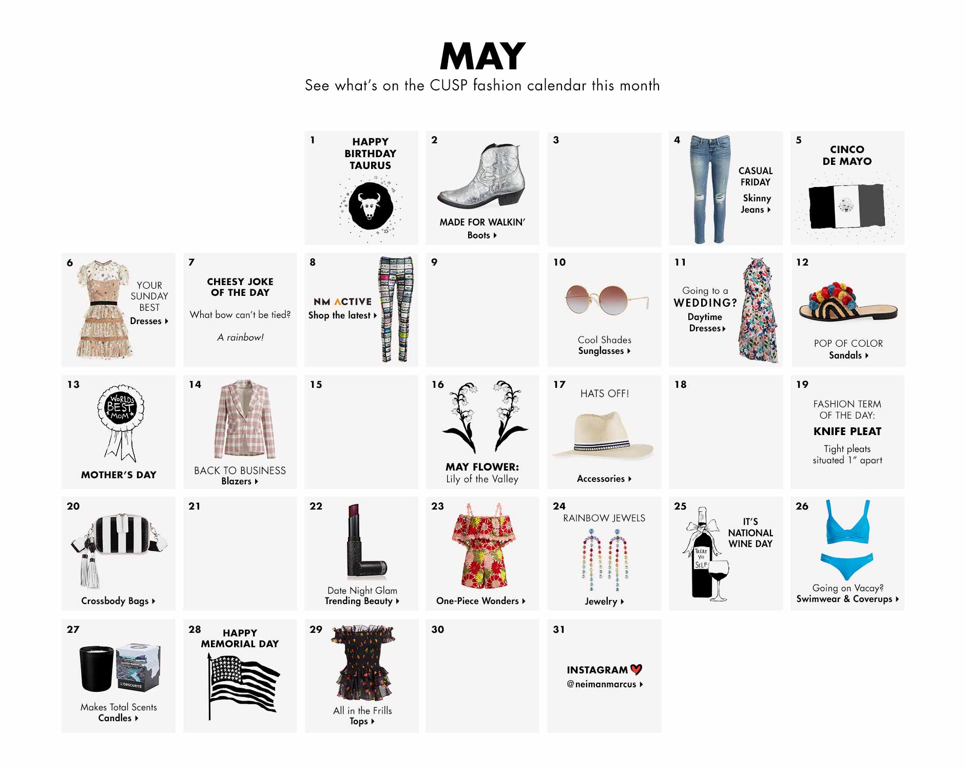 May - See what's on the CUSP fashion calendar this month
