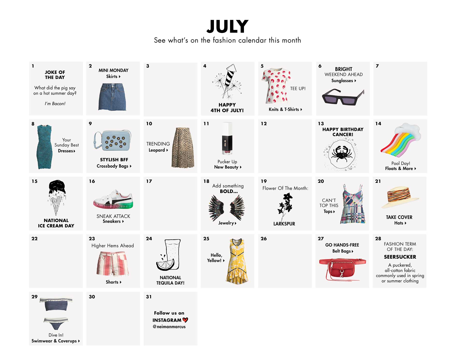 July - See what's on the CUSP fashion calendar this month