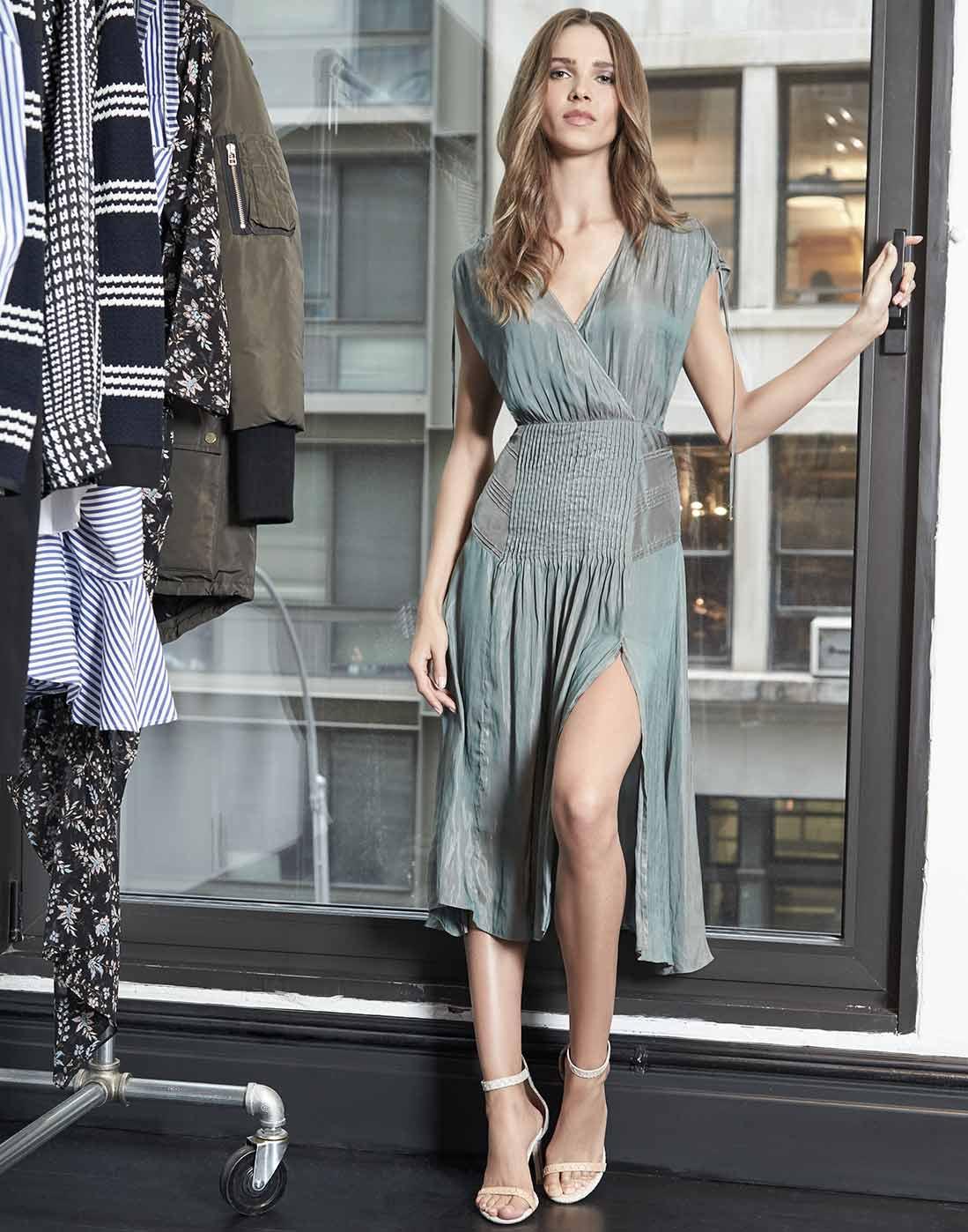 711212a2dc Veronica Beard Flash Iridescent Pintucked Midi Dress