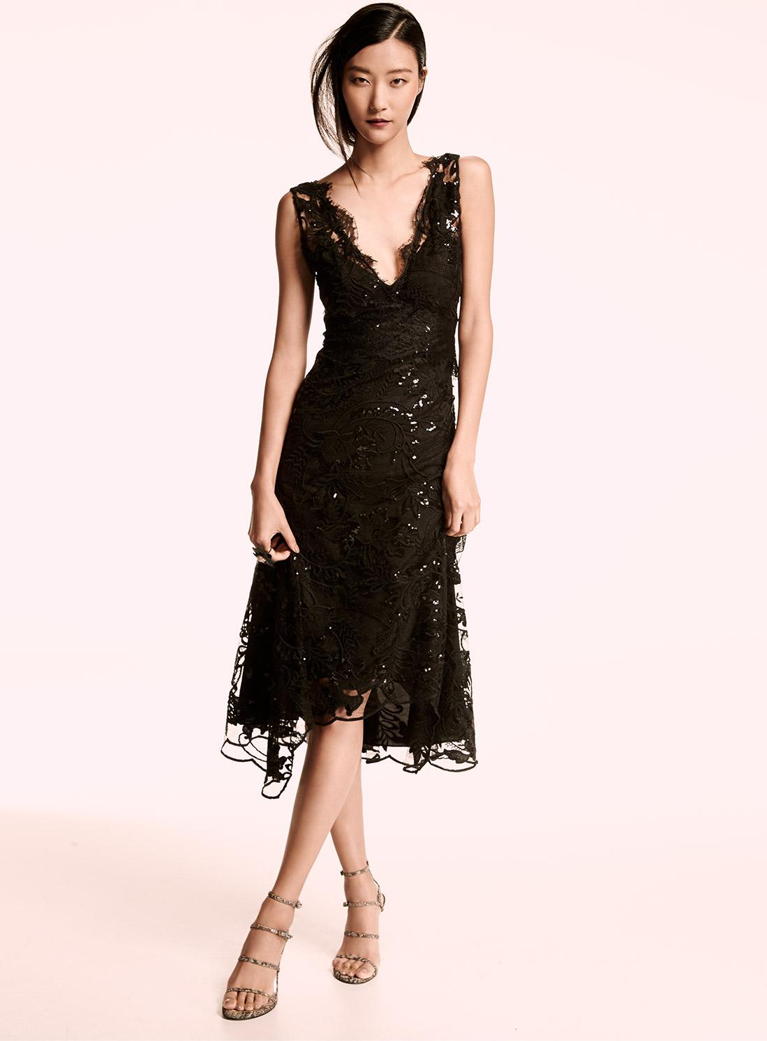 Black dress neiman marcus - Kobi Halperin Sleeveless Embellished Lace Midi Dress Black