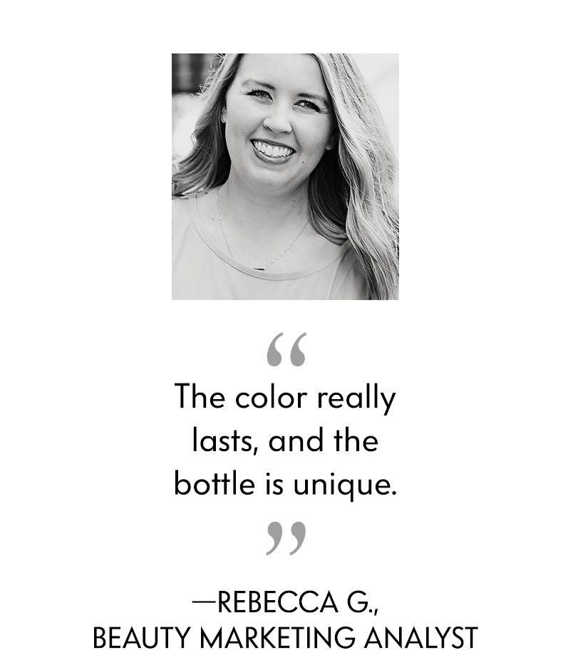 The color really lasts, and the bottle is unique.