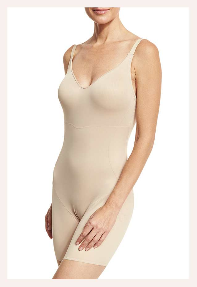 TC Shapewear Firm Control Low-Back Mid-Thigh Bodysuit Shaper