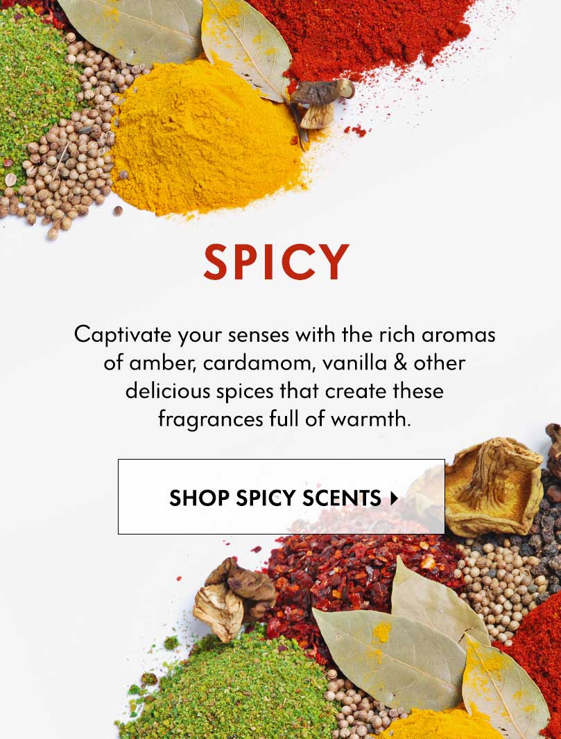 Spicy - Captivate your senses with the rich aromas of amber, cardamom, vanilla & other delicious spices that create these fragrances full of warmth.