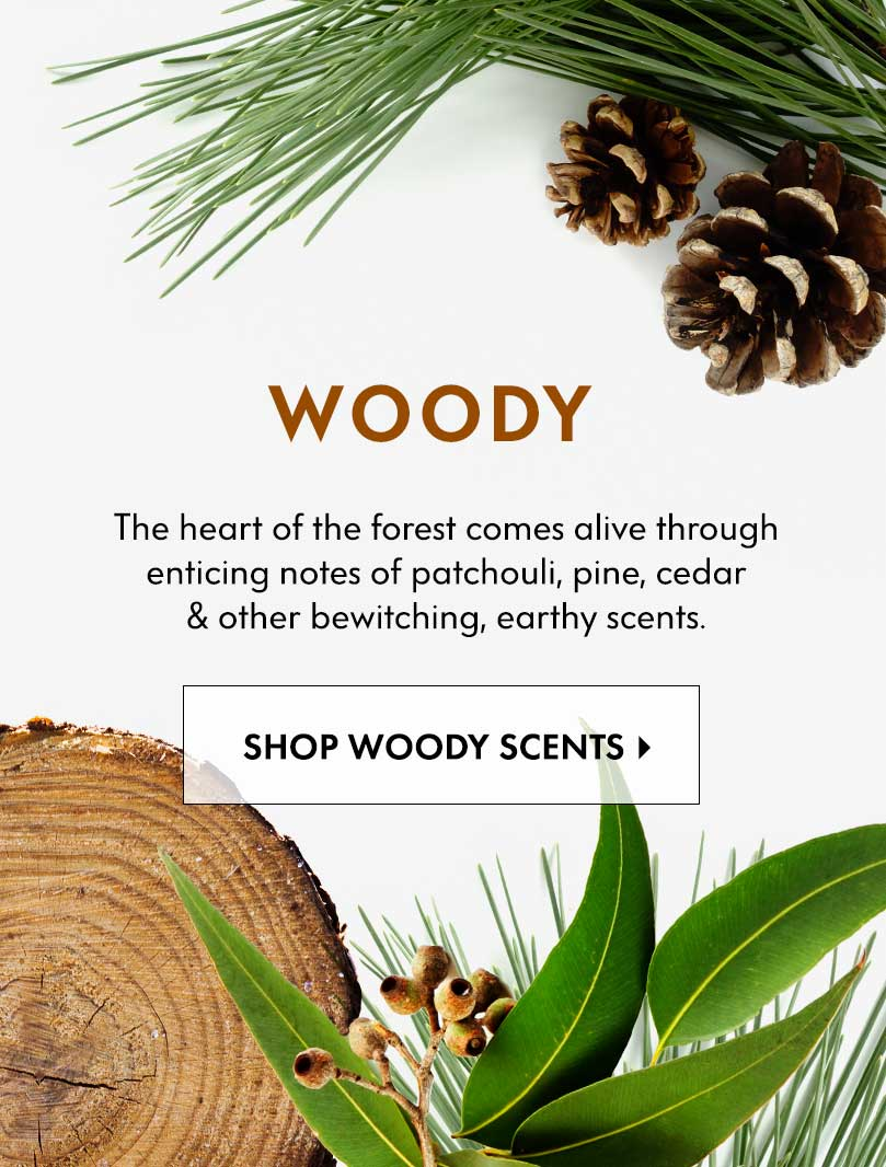 Woody - The heart of the forest comes alive through enticing notes of patchouli, pine, cedar & other bewitching, earthy scents.