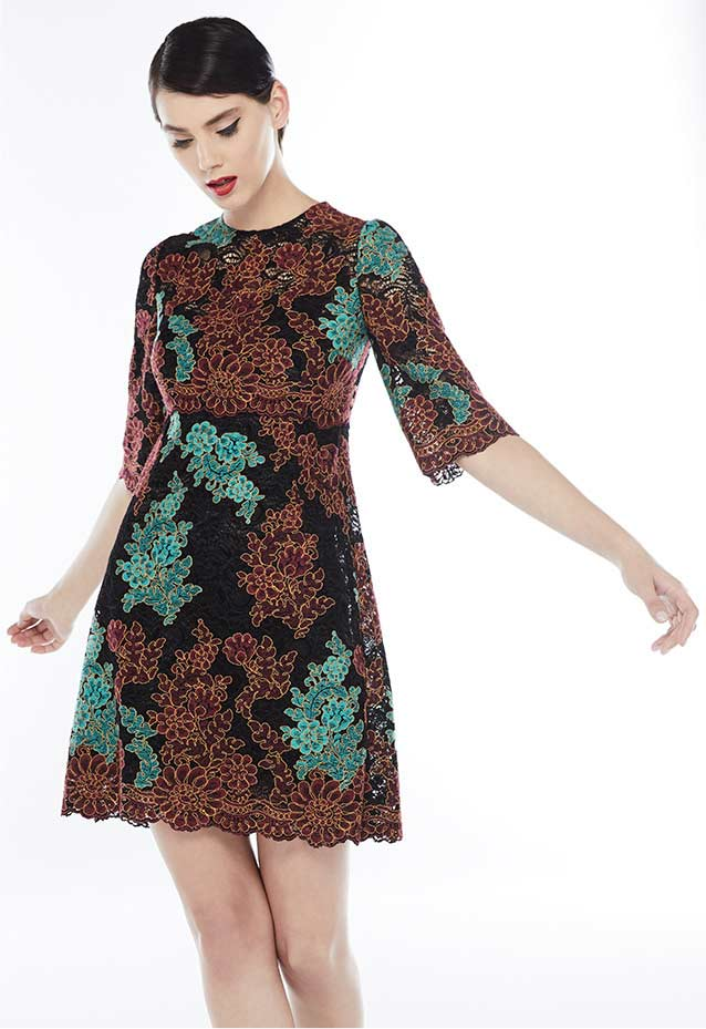 Lace-Embroidered Shift Dress