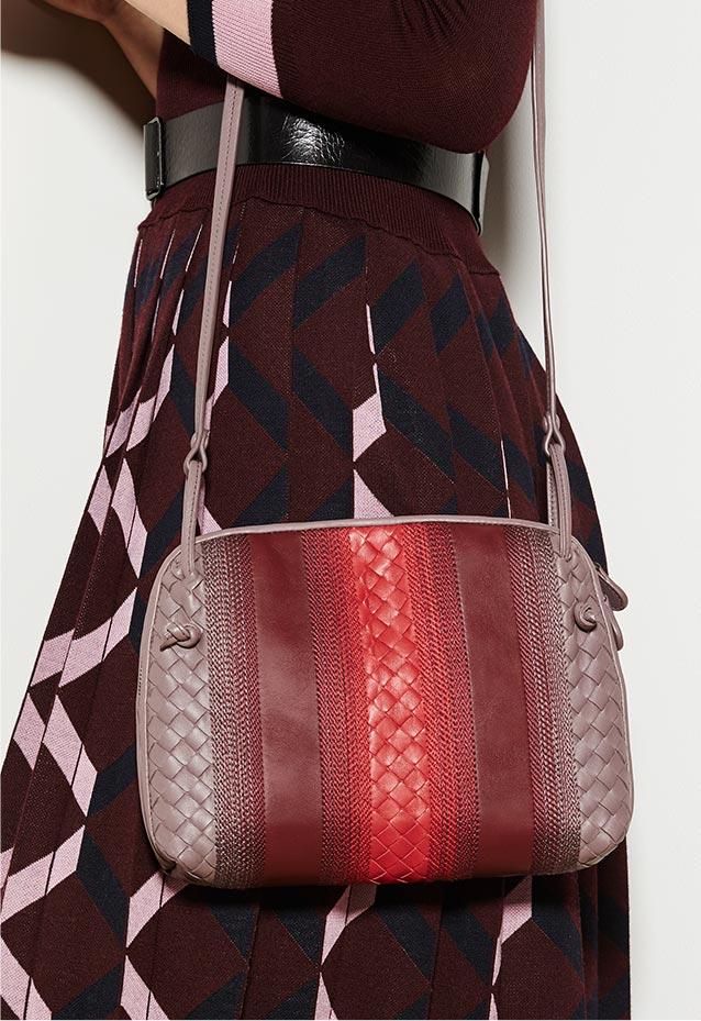 ... Bottega Veneta Intrecciato Leather Padlock Shoulder Bag. Signature  intrecciato makes stripes stand out. Leather Pillow Bag 1d745c61e5557