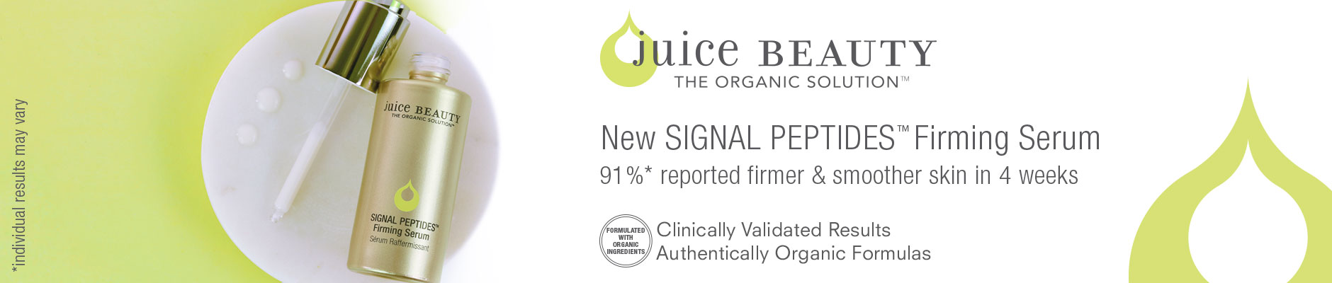 Juice Beauty: The Organic Solution - New Signal Peptides Firming Serum
