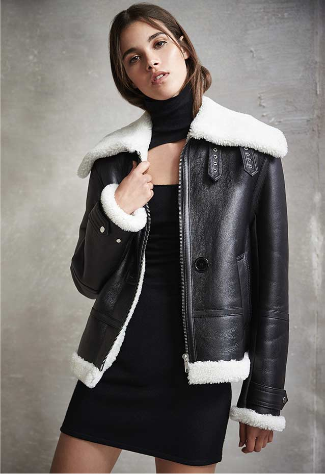 Shearling Aviator Jacket + Cutout Mini Dress