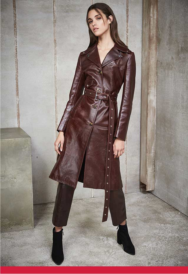 Long Leather Biker Coat + Cropped Pants