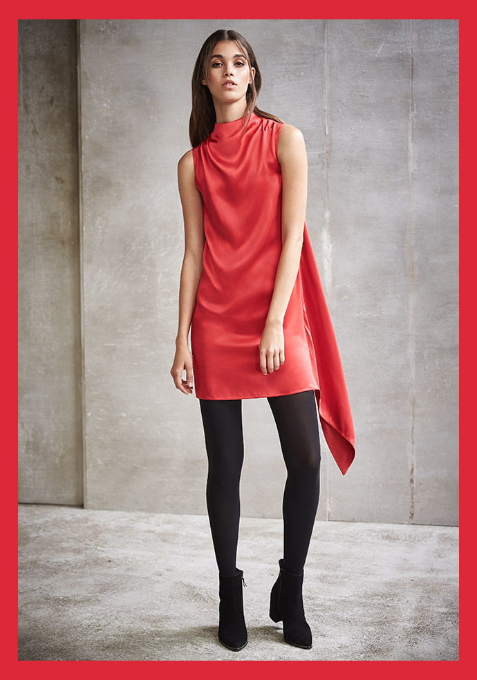 Draped Satin Shift