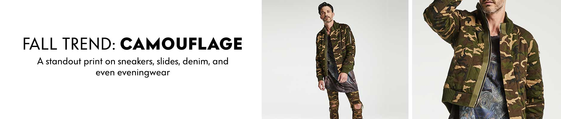 Fall Trend: Camouflage - A standout print on sneakers, slides, denim, and even eveningwear