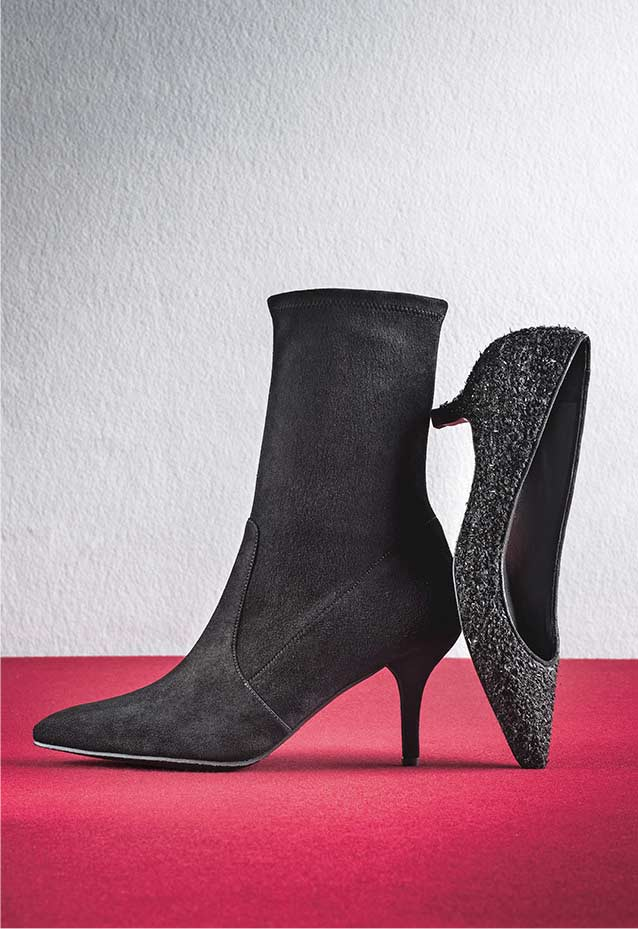 Cling Suede Ankle Boot, Poco Bouclé Kitten-Heel Pump