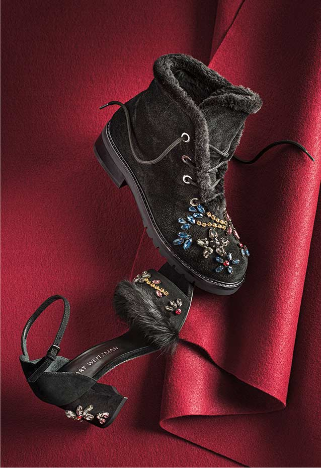 Jewelsandal Fur-Trim Sandal Bejeweled Fur-Lined Combat Boot